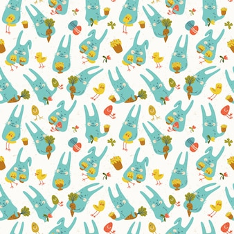 Happy easter seamless pattern with funny blue rabbits holding chickens eggs carrots and flowers