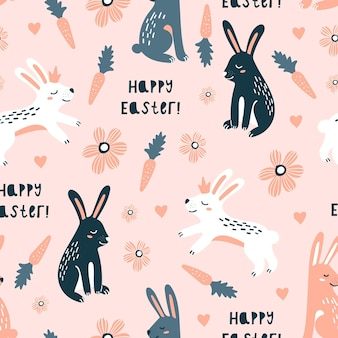 ウサギとのハッピーイースターシームレスパターン