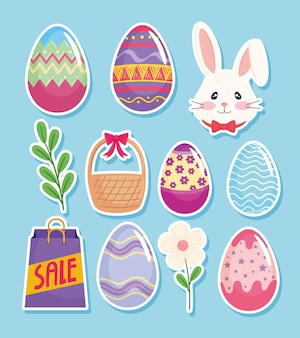 Happy easter season card with eggs painted and set icons  illustration