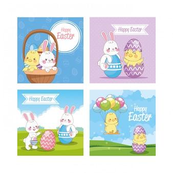 Happy easter seasonal card set scenes