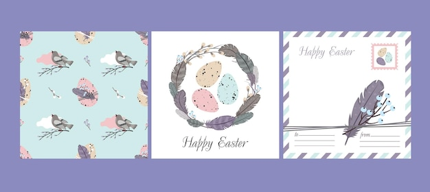 Happy easter set: greeting card and seamless pattern. willow wreath, feathers, bird, easter eggs.