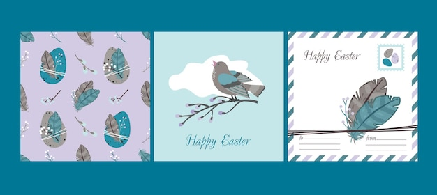 Happy easter set : greeting card and seamless pattern. willows, easter eggs, singing bird, feathers.