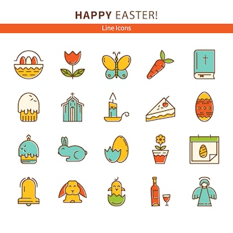 Happy easter set of line icons