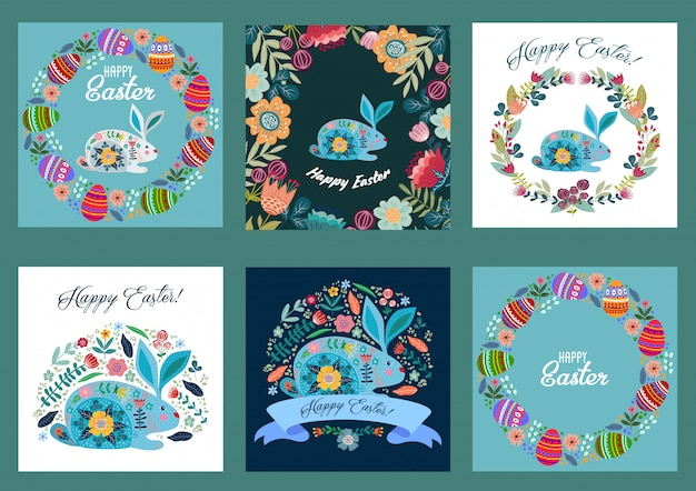Happy easter. set of templates for cards and banners with cartoon flat cute eggs, rabbit and flowers.