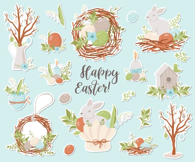 Happy easter stickers collection.  illustration for design of planners, notebooks and more