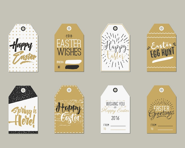 Happy easter tags collection.