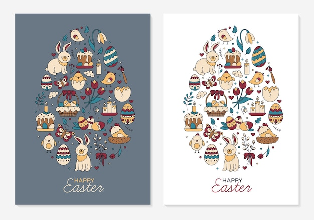Happy easter templates for greeting cards in the shape of an egg