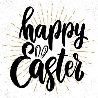 행복 한 부활절 텍스트입니다. 부활절 휴일 인사말 카드, 초대장, 배너, 엽서, 웹, 포스터 템플릿에 대한 레터링 문구.