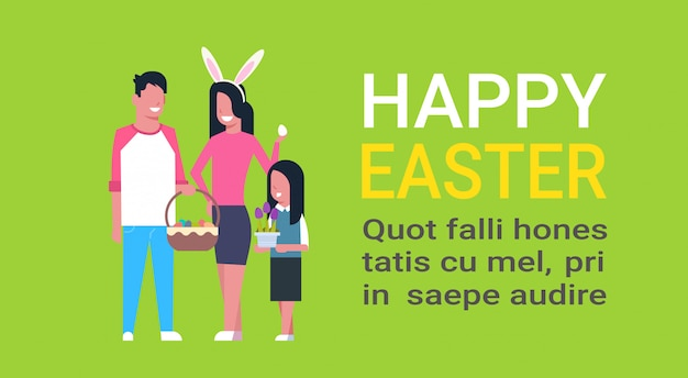 Happy easter text template with young family celebrating spring holiday wear bunny ears and holding basket with eggs