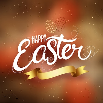 Happy easter text with golden eggs and ribbon