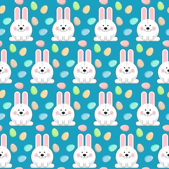 Happy easter theme. seamless pattern background with funny cartoon white rabbit.