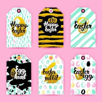 Happy easter trendy gift labels. vector illustration of 80s style shop tag design with handwritten lettering.