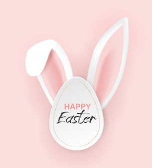 Happy easter typographical background with bunny ears