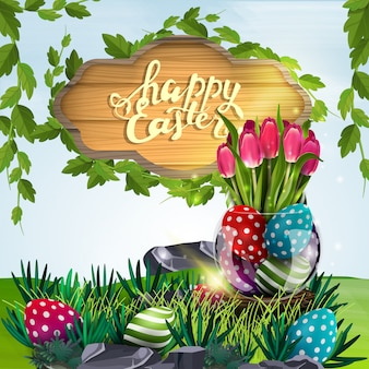Happy easter, vector illustration with wooden sign