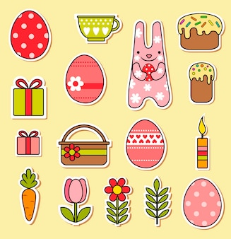 Happy easter vector set