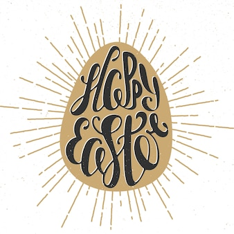 Happy easter vector typography design elements