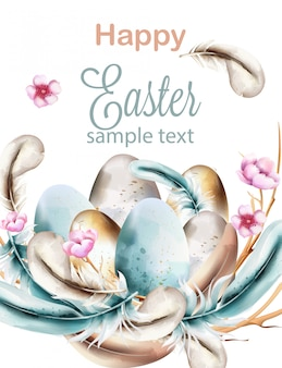Happy easter watercolor composition with blue colored feathers on wreath