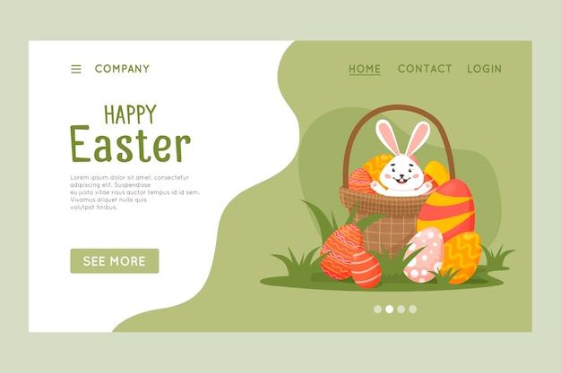 행복 한 부활절 웹 사이트 템플릿, 웹 페이지 및 방문 페이지 디자인.