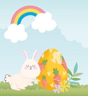 Happy easter white bunny egg painting with carrots in grass illustration