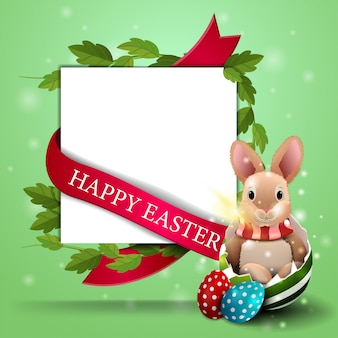 Happy easter, white postcard template