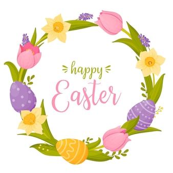 Happy easter with bright wreath of spring flowers