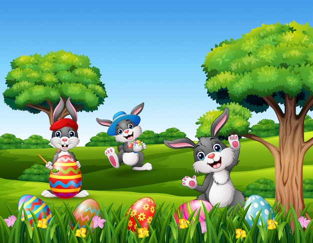 Happy easter with bunnies in the nature