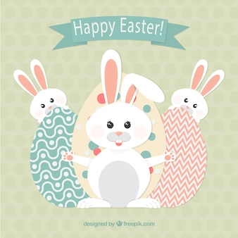 Happy easter with bunnies