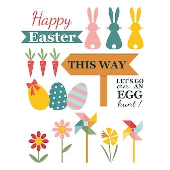 Счастливой пасхи с цветами яиц кролика