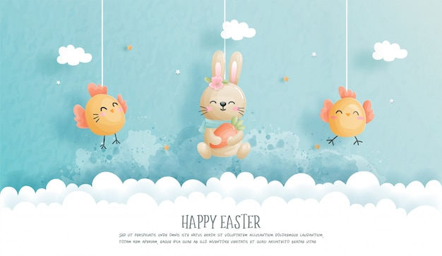 Happy easter with cute bunny and ester eggs in paper cut style  illustration.