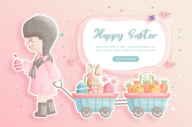 Happy easter with cute girl, bunny and easter eggs in paper cut style  illustration.