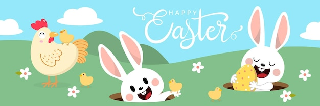 Happy easter with cute white bunny with colourful eggs