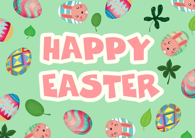 Happy easter with decorated eggs background