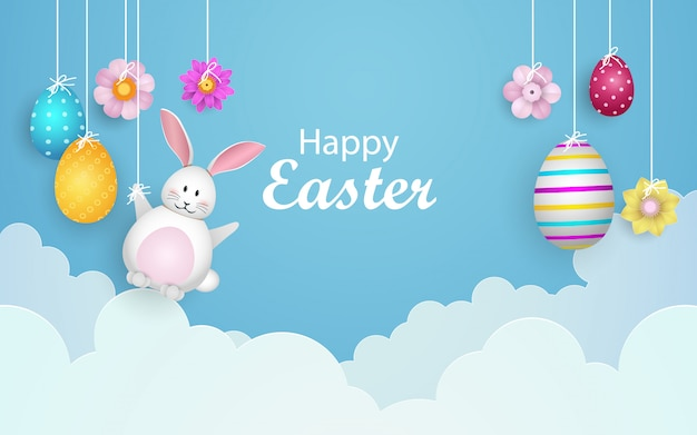 Happy easter with decorated eggs, cute bunny and clouds.