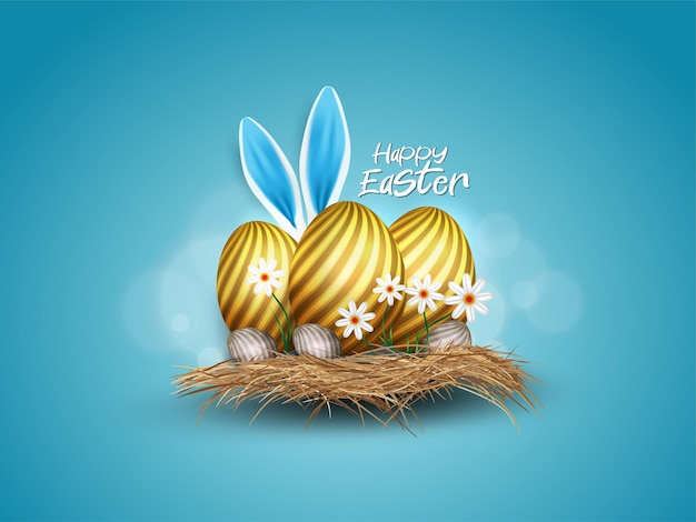 Happy easter with gold egg and rabbit ears