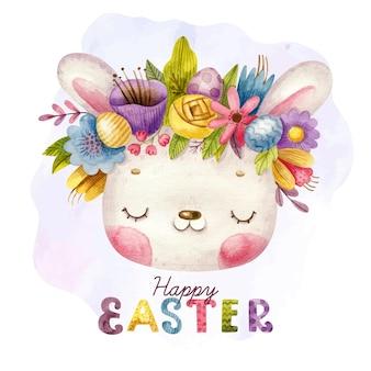 手描きのレタリングと花輪とかわいいウサギとハッピーイースター