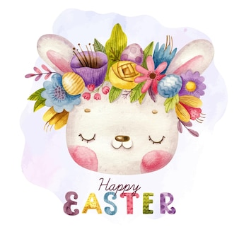 Happy easter with hand drawn lettering and cute bunny with wreath