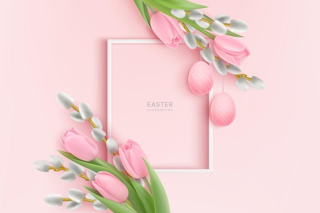 Happy easter with pink tulips and willow branches with easter eggs hanging and white frame
