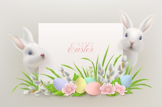 Happy easter with realistic white hares sitting behind a greeting card and flower arrangement with easter eggs and pussy willow branches