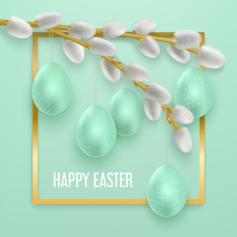 Happy easter   with spring willow branches with easter eggs hanging on it