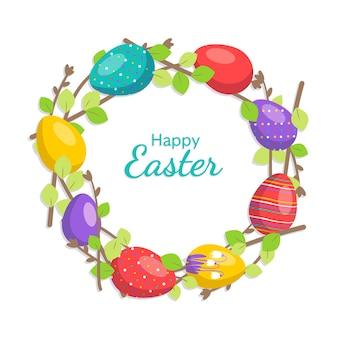 밝은 색상의 행복한 부활절 화환 봄 요소 꽃과 계란으로 축제 장식