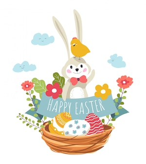 Happy eater, bunny and bird sitting in woven basket