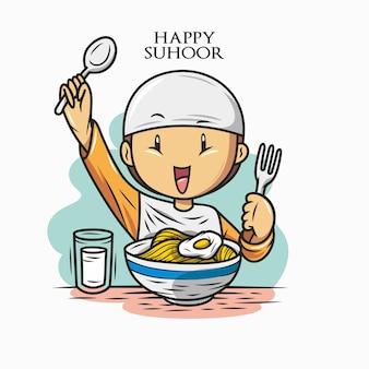 Happy eating suhoor Premium Vector