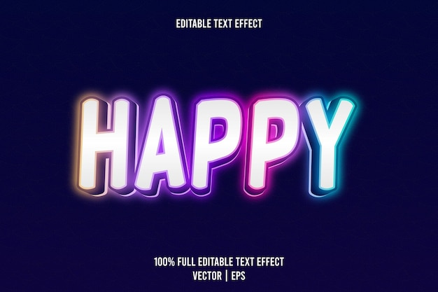 Happy editable text effect 3 dimension emboss neon style