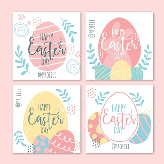 Happy eggs easter instagram post collection