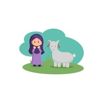Happy eid adha. celebration of muslim holiday the sacrifice a goat