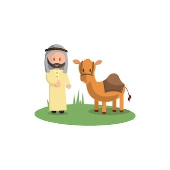 해피 이드 아드하. 이슬람 휴일 축하 낙타 희생