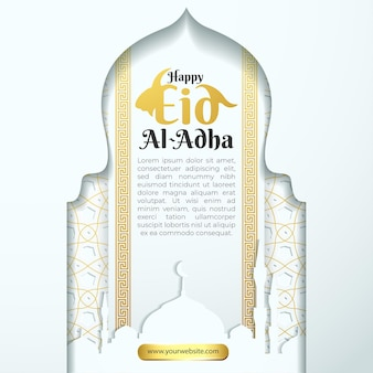 Happy eid adha greeting card for social media template with white gol islamic patern background