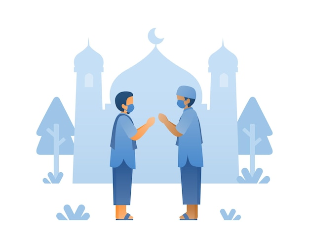 Happy eid al adha background with muslim character and mosque illustration