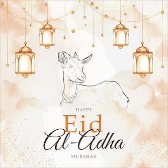 Happy eid al adha greeting card with goat animal  and lantern splash watercolor background