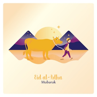 Happy eid al adha mubarak, leading a cow for islamic sacrifice